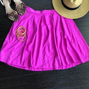 Cynthia Rowley Hot Pink Pleated Skirt